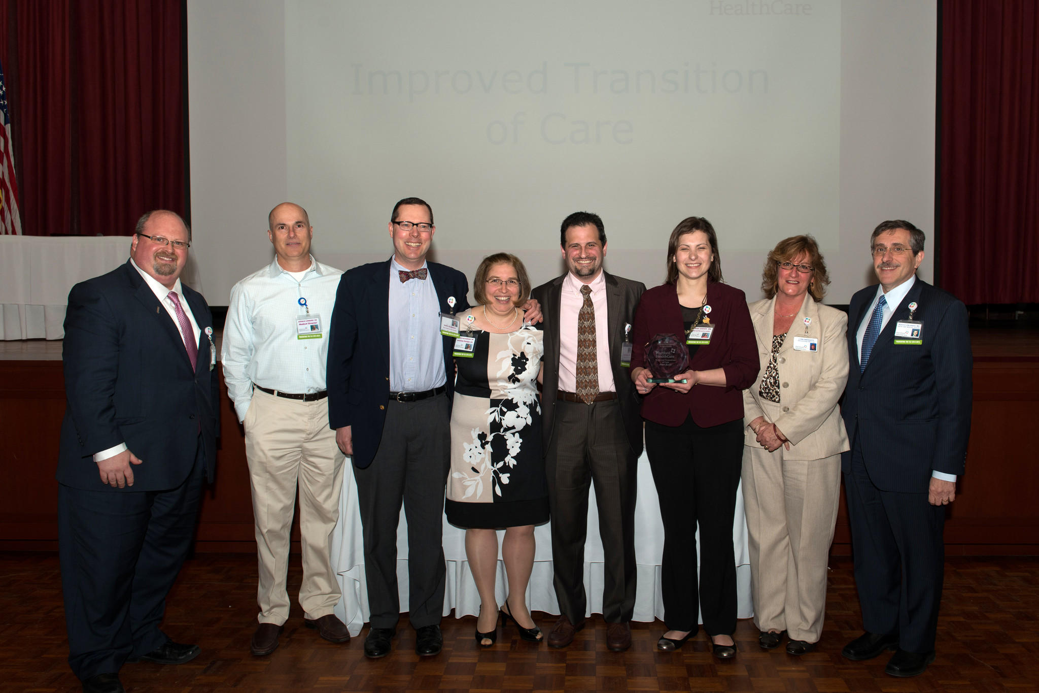 From left to right: David Fichandler, Hartford HealthCare patient experience director; Dr. Donald Lombino, Emergency Department medical director; Marc Levesque, CCSHS senior resource case manager; Susan McGaughan, RN, MBA, NE-BC, Emergency Department business manager; Dr. Alan Weiner, Emergency Department associate director; Dana Garvey, RN; Lynn Amarante, former assistant vice president of emergency services; and Dr. Rocco Orlando, Hartford HealthCare chief medical officer.