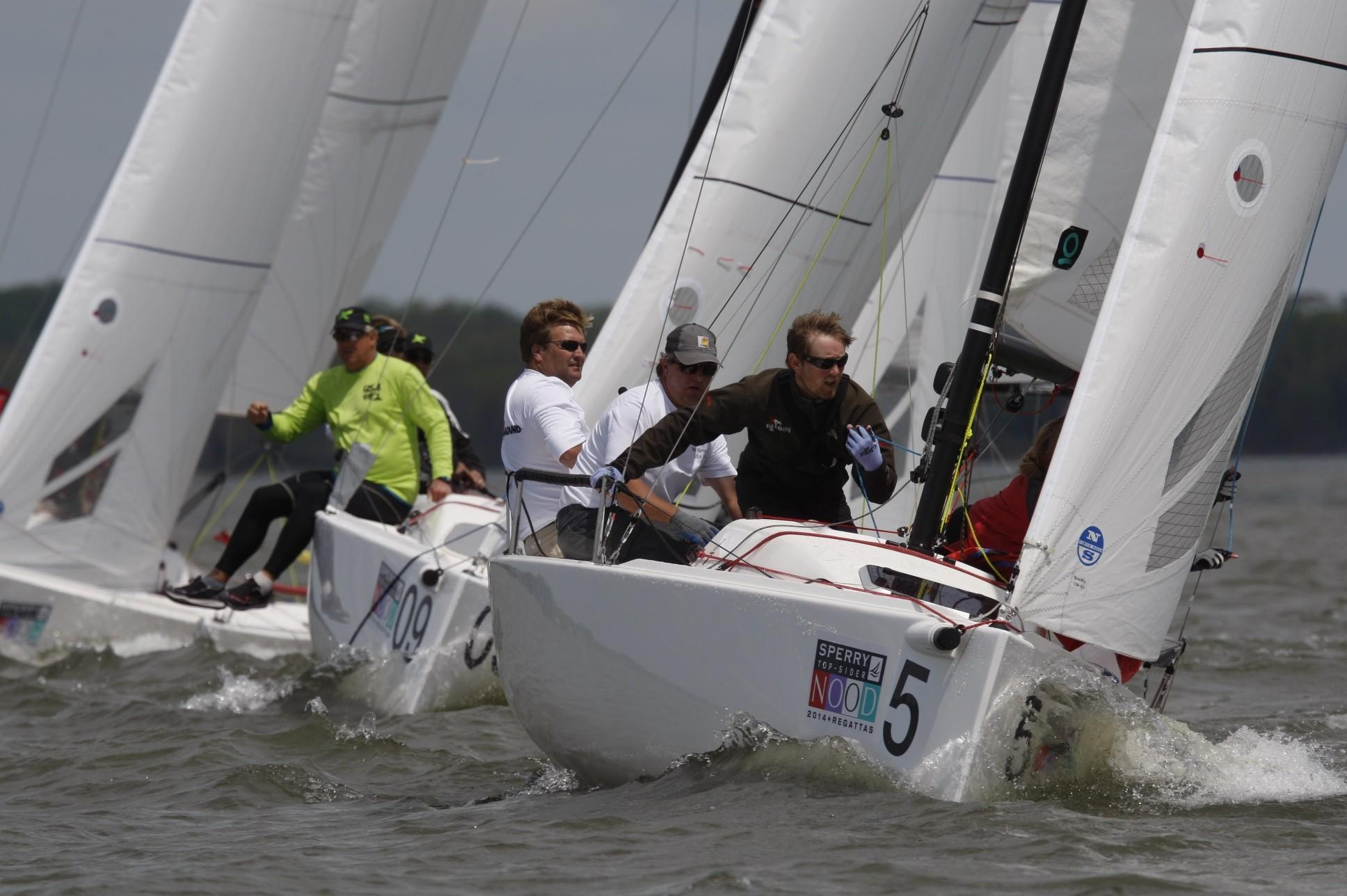 """Thomas Bowen, of Charleston, S.C., skippers """"Reach Around"""" in the 55-boat J/70 class at the Sperry Top-Sider NOOD Regatta in Annapolis. The Annapolis YC is hosting 200 boats for three days of racing this weekend."""