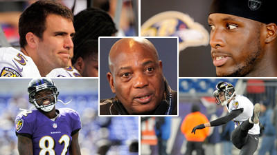 The Ravens have had their share of early-round draft success stories with player such as Joe Flacco, top left, and Torrey Smith, bottom left. And even with impressive free-agent discoveries such as Justin Tucker, bottom right, it's difficult to avoid busts such as Sergio Kindle, top right.