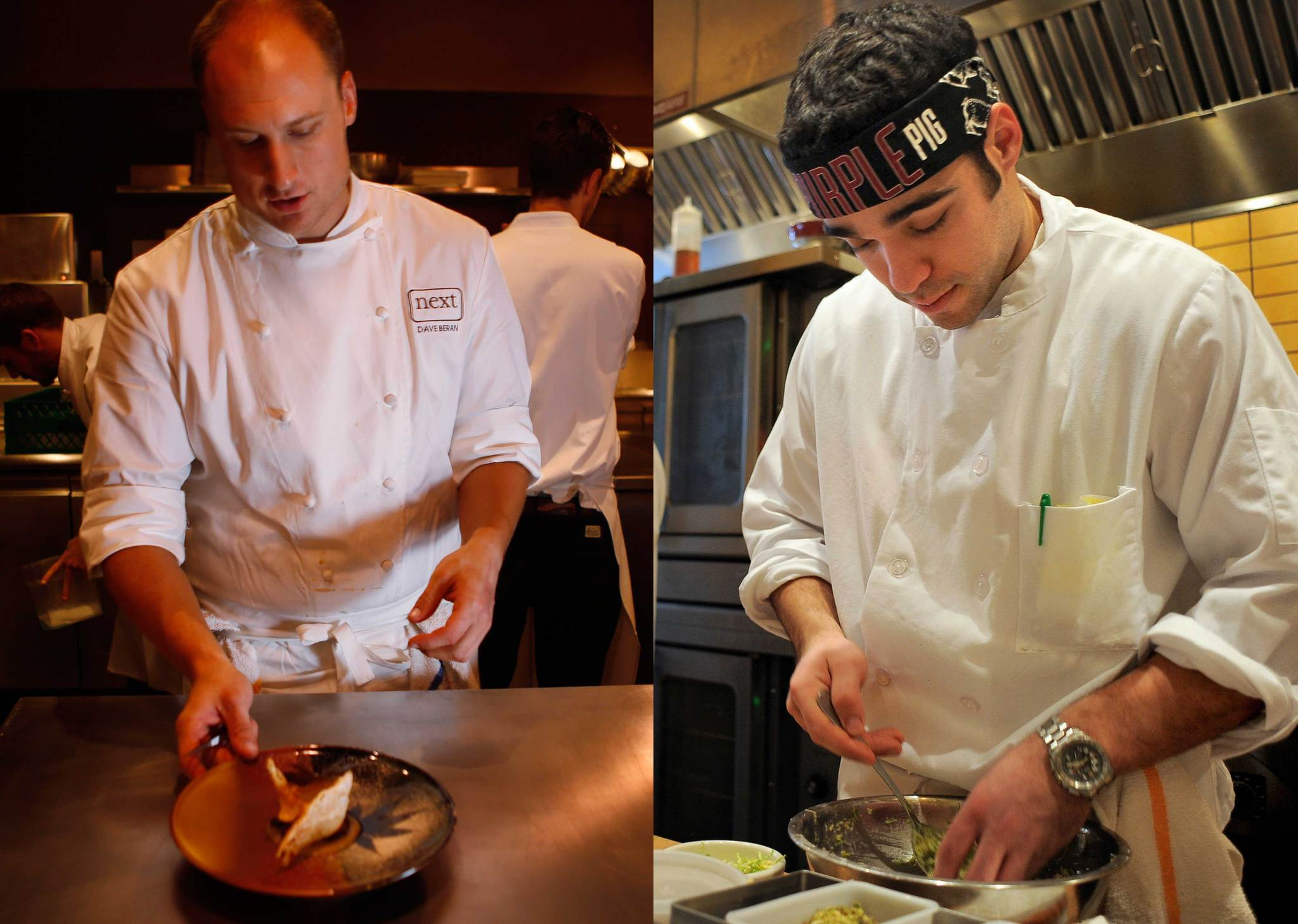 Dave Beran of Next (left) and Jimmy Bannos Jr. of The Purple Pig (right) are winners in the 2014 James Beard Foundation Awards.