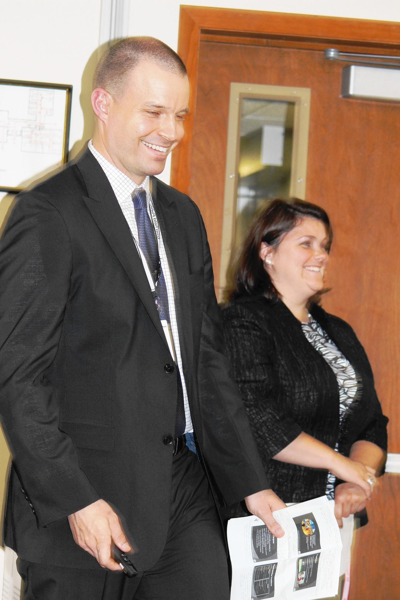 Angela Morretti, assistant principal at Alan B. Shepard Middle School, and John Filippi, assistant principal at Caruso Middle School, were recognized at a recent Deerfield Public Schools Board of Education meeting.