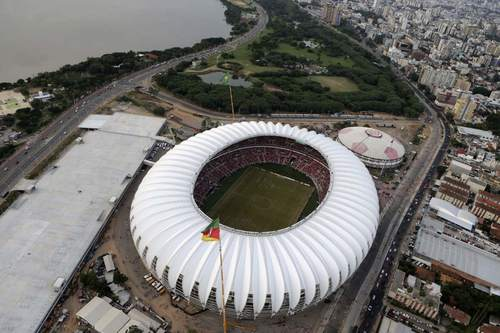 An aerial view shows the Beira-Rio stadium during the first soccer test match between Brazil's Internacional and Uruguay's Penarol, in Porto Alegre April 6, 2014. The stadium will be one of the stadiums hosting the 2014 World Cup soccer matches.
