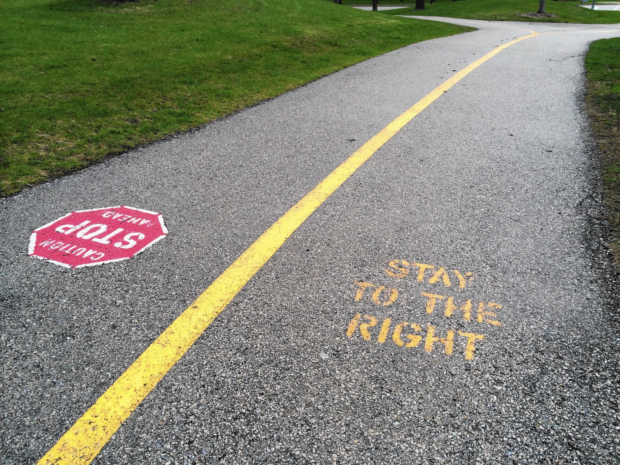 The pathway's directional markings at Lake Arlington weren't well-recieved by the community.