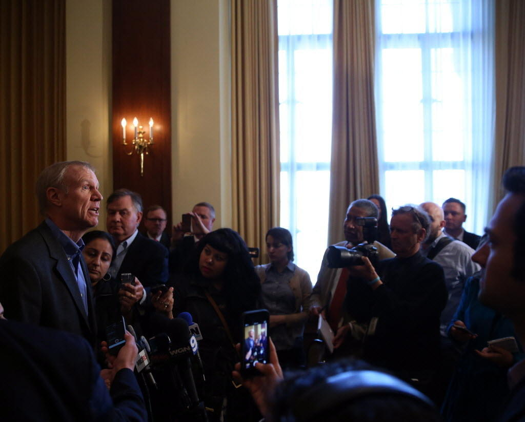Republican governor candidate Bruce Rauner, seen here last month in Chicago, talked about a nursing home bankruptcy ruling today in Springfield.