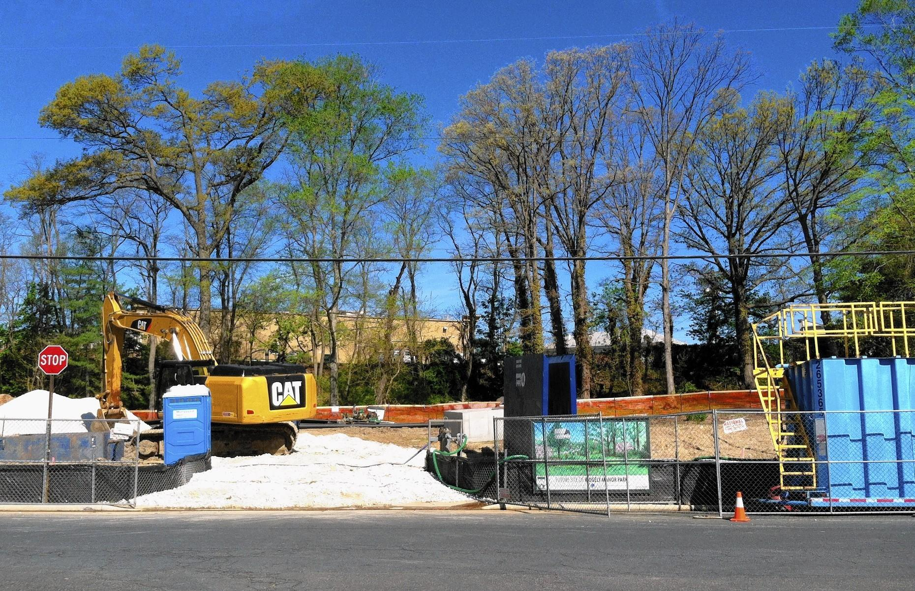 A groundbreaking was held May 3 for Ridgely Manor Park in Towson where greenspace will replace eight homes purchased by Hess Corp. and razed a year ago after an underground gasoline leak was discovered.