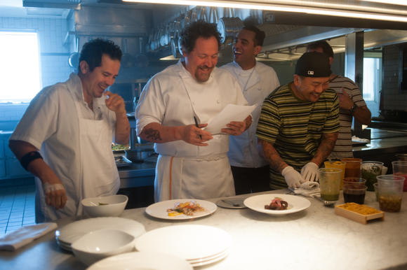Jon Favreau (second from left) on the set of 'Chef'