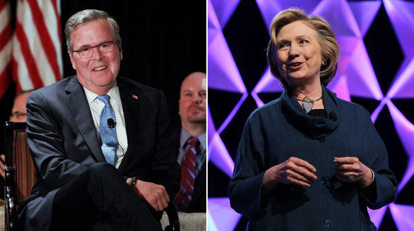 Former Florida Gov. Jeb Bush and former Secretary of State Hillary Rodham Clinton