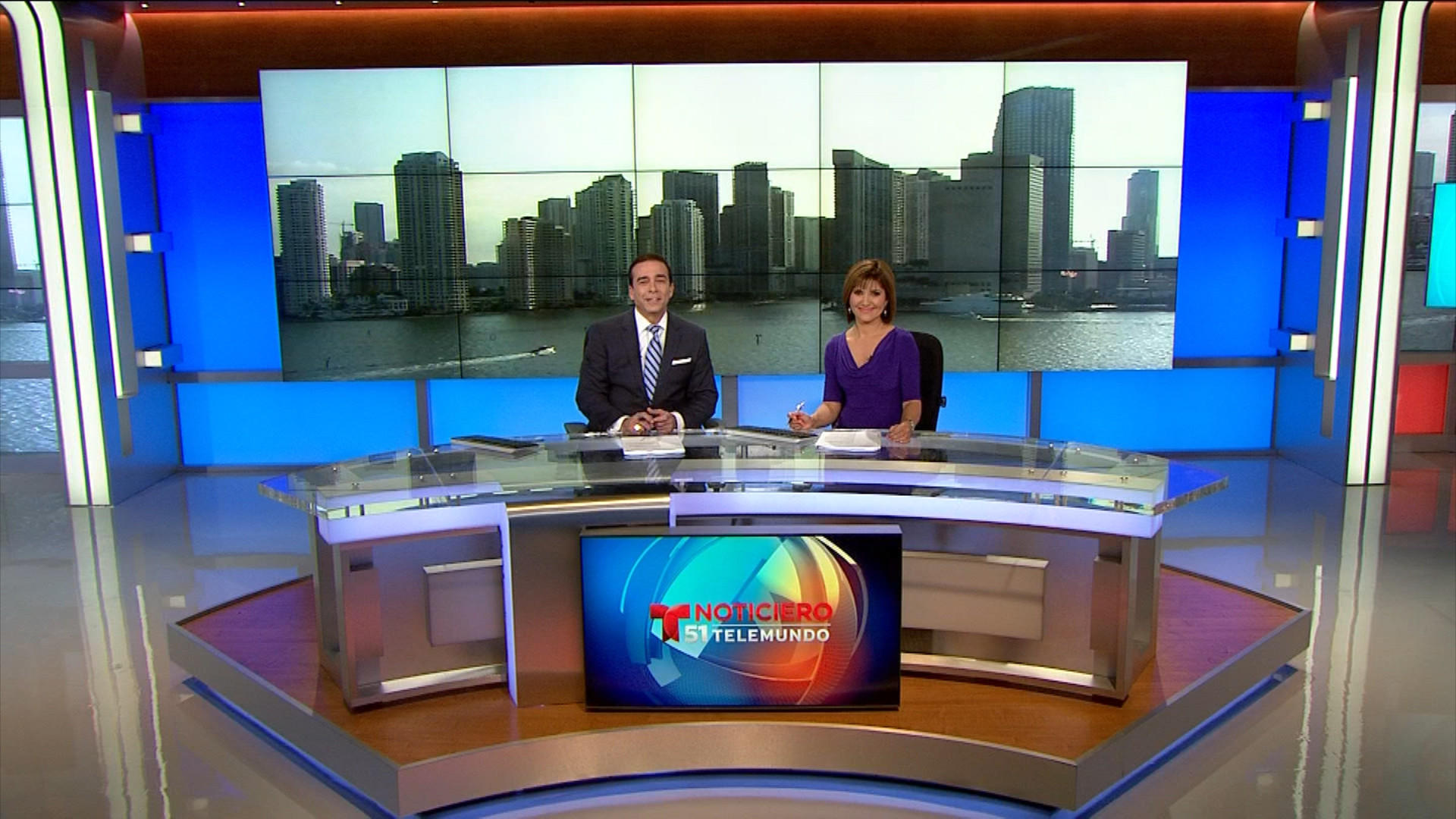 Telemundo evening co-anchors Ambrosio Hernandez and Daisy Ballmajo helm newscasts from a new news set at WSCV-Ch. 51's studios in Miramar.