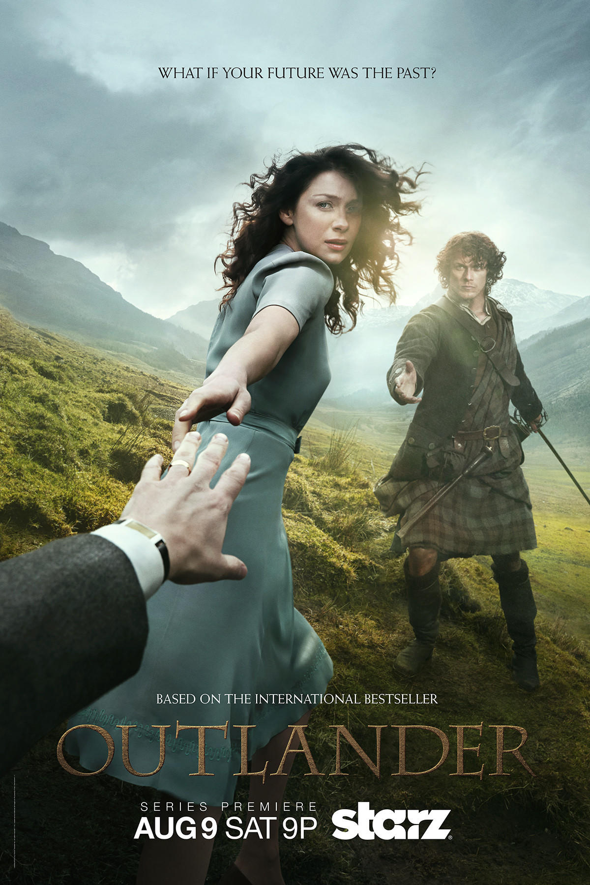 "The ""Outlander"" key art shows series stars Caitriona Balfe and Sam Heughan."