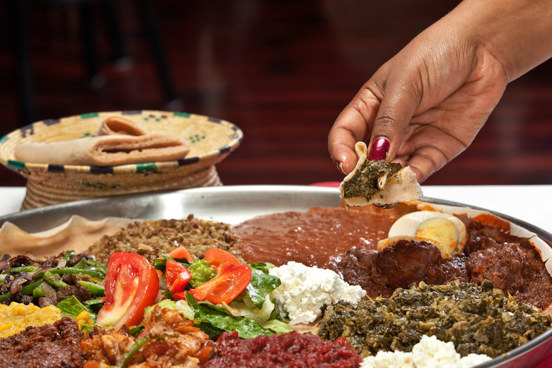 Injera with messob (sampler platter) at Demera Ethiopian Restaurant