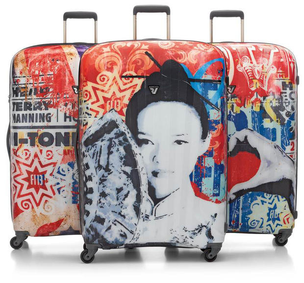 The Italian family that makes this high-end line of luggage teamed with Alessio-b, a young Paduan artist who turns baggage into durable, European-flavored pop art. Ripped billboards, stencils, graffiti, glitter and celebrity imagery are printed directly on the lightweight polycarbonate shell with an abrasion-and scratch-resistant finish (and a 10-year warranty). The four swivel wheels keep your art in motion through the airport. In three sizes: $625 for carry-on spinner, $665 for medium spinner, $695 for large; roncatousa.com.