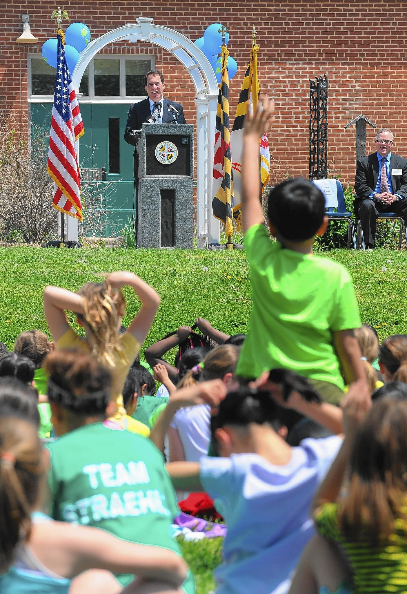 "Baltimore County Executive Kevin Kamenetz, top left, and Baltimore County schools Superintendent Dallas Dance, not pictured, announced the launch of the ""Team BCPS Clean Green 15 Litter Challenge"" at Lutherville Laboratory Elementary School on Thursday, May 8."