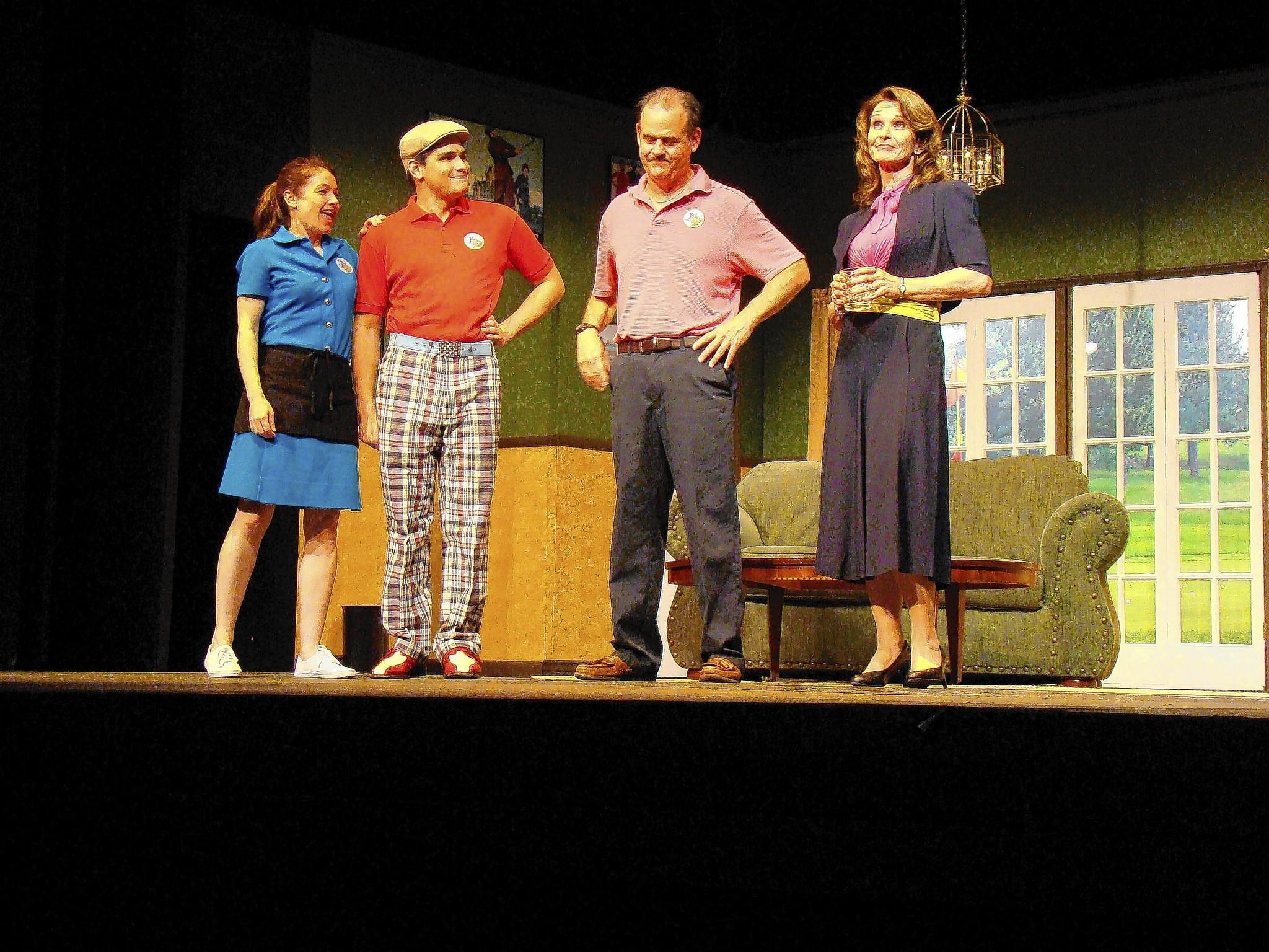 "From left, Erica Mueller, Alex Hyder, Brian Binney and Rosalie Daelemans in ""The Fox on the Fairway,"" continuing through May 18 at Bowie Playhouse."