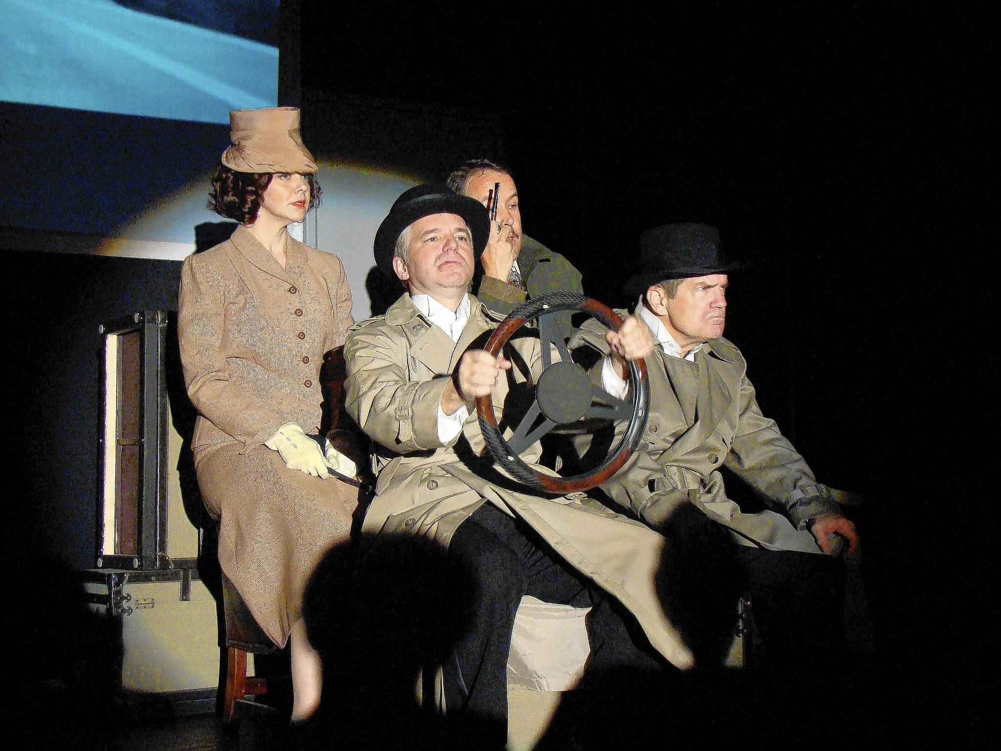 "From left, Rebecca Ellis, Eric Lund, Ty Cobb and Duncan Hood in ""The 39 Steps,"" continuing at Dignity Players through May 17."