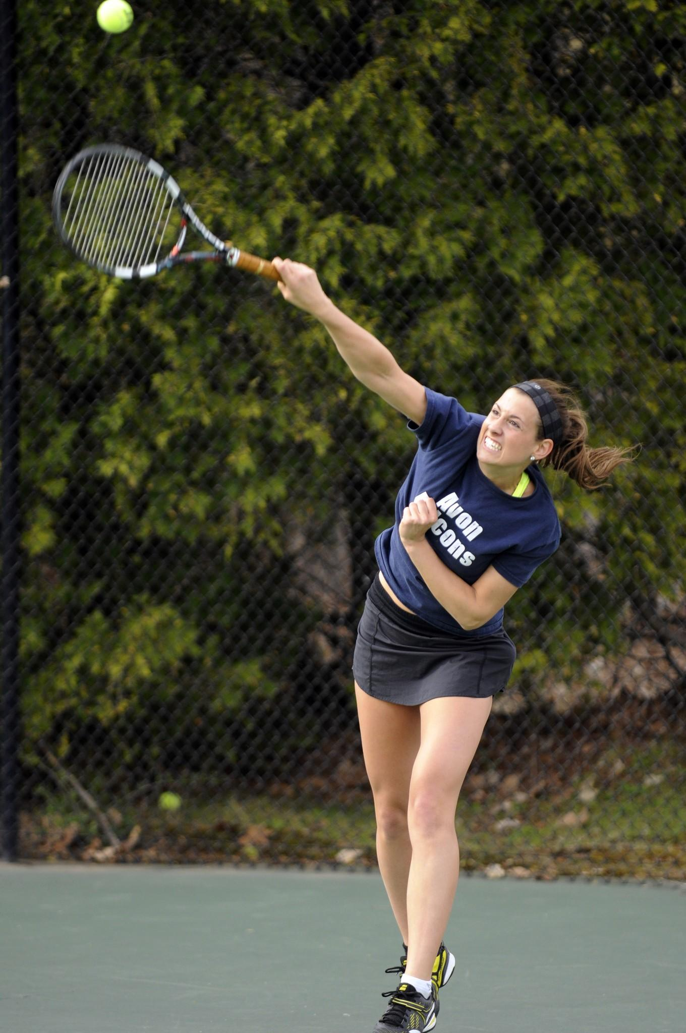 EAST GRANBY--5/2/14--Avon's Hannah Dehlem in a match between Avon and East Granby Friday May 2 at East Granby High School. (RICK HARTFORD|rhartford@courant.com) B583704137Z.1//hc-hs-tennis-feature-0503. ORG XMIT: B583704137Z.1/hc-hs-tennis-featu