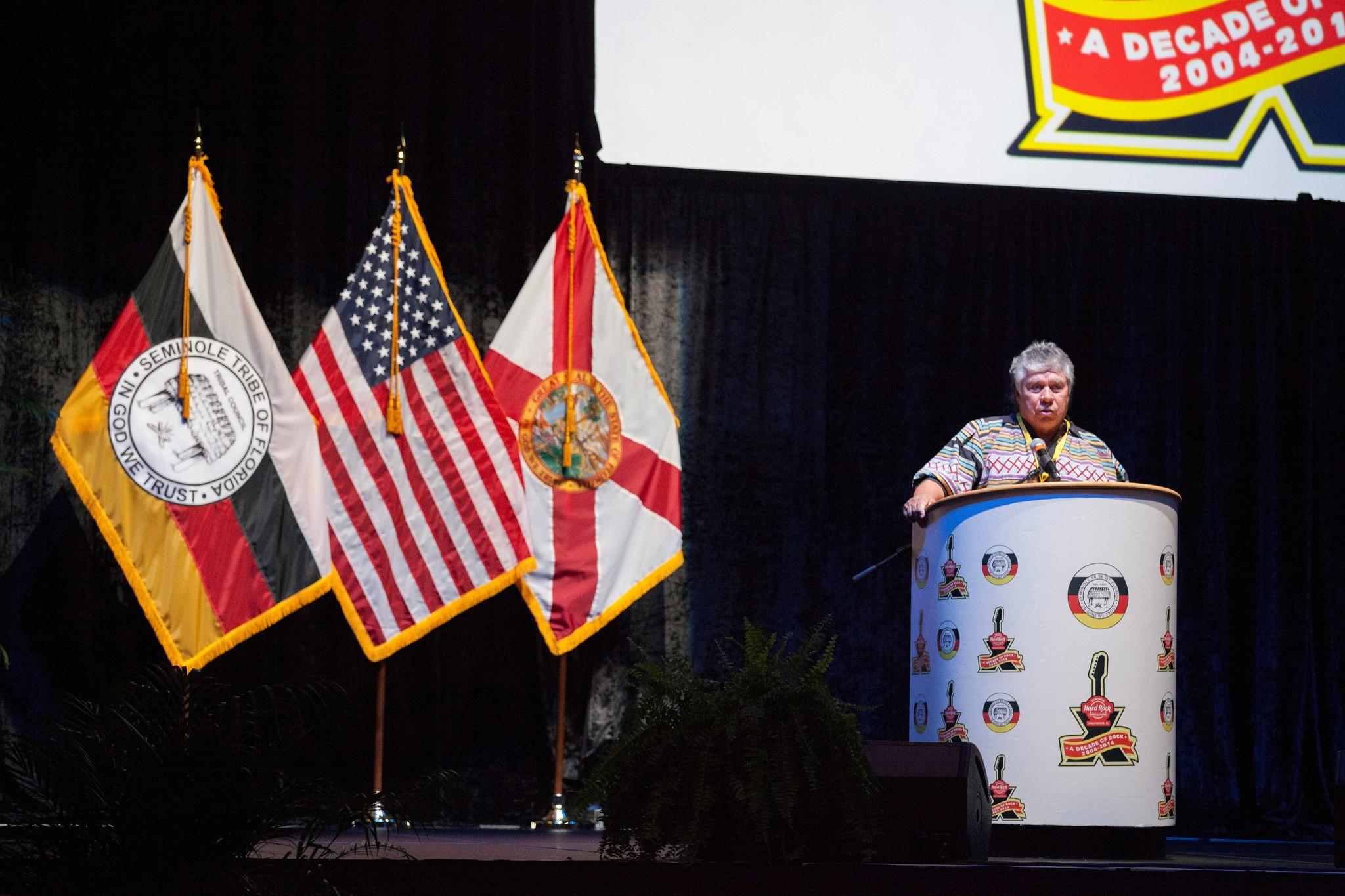 Seminole Chairman James Billie spoke Friday, May 9, at the Seminole Hard Rock Hotel and Casino in Hollywood.