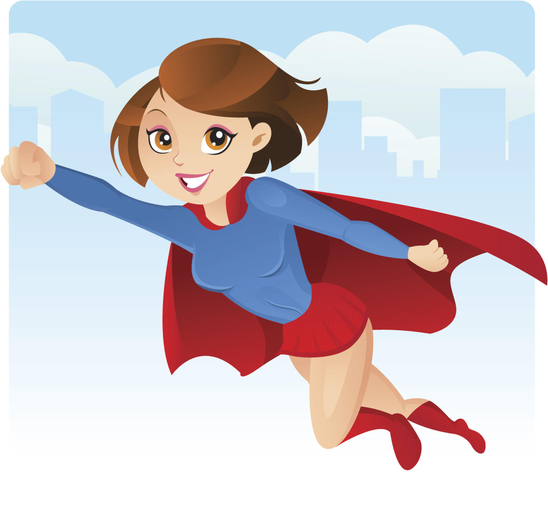 Super girl flying to the rescue