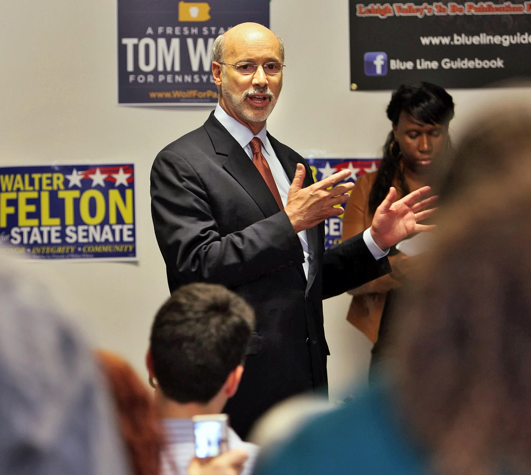 York County businessman and former state Revenue Secretary Tom Wolf during a rally for the Democratic candidate for Governor Friday, May 9, 2014 at the Cigar Factory in Allentown.