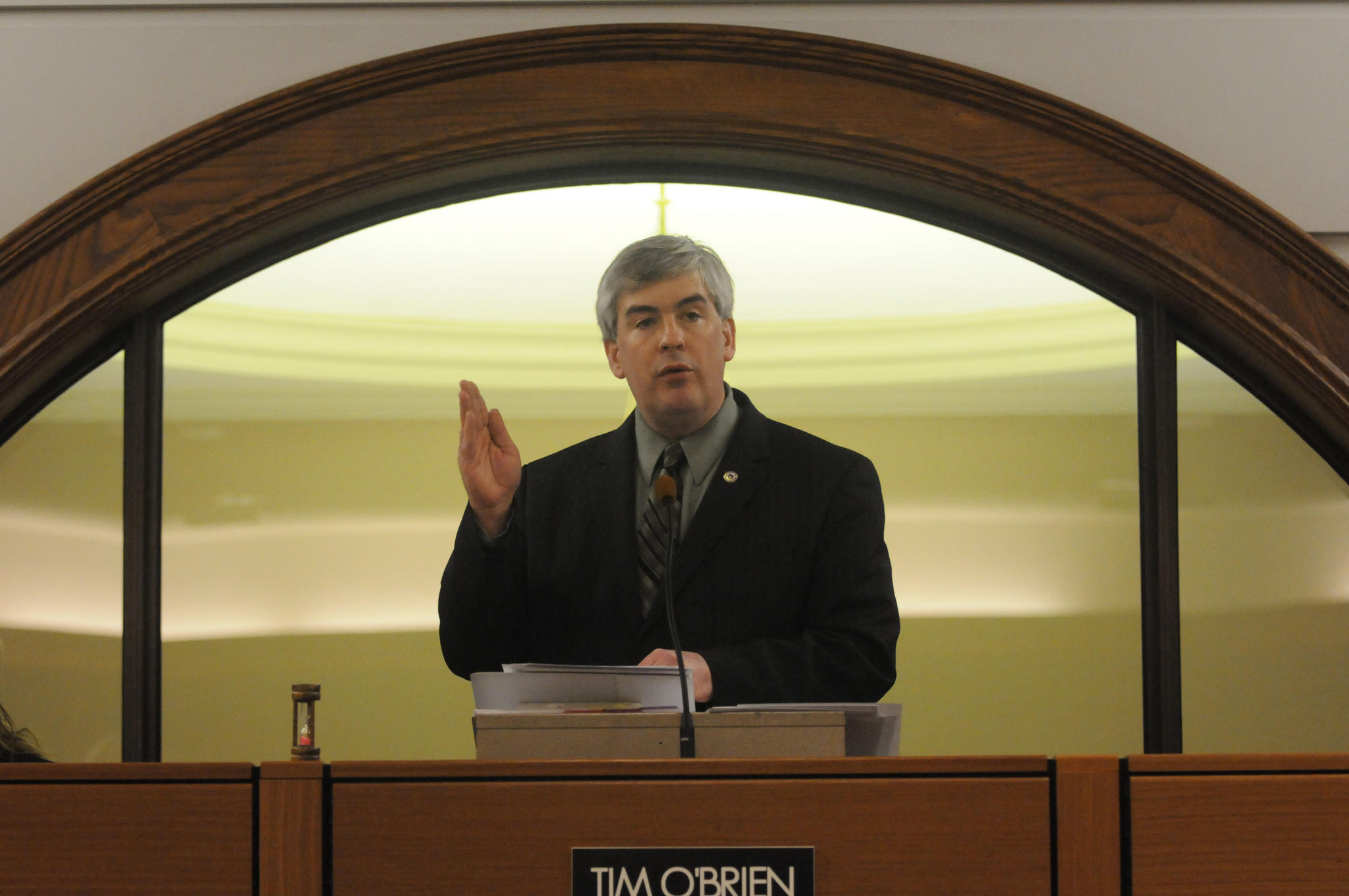 New Britain Mayor Tim O'Brien gives his state of the city address in the council chambers at city hall in March 2013.