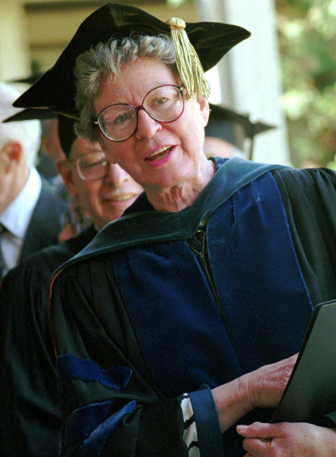 In 1994, Rhoda Dorsey, the president of Goucher College, awaits the beginning of the graduation procession at her last commencement after 21 years in charge of Goucher.