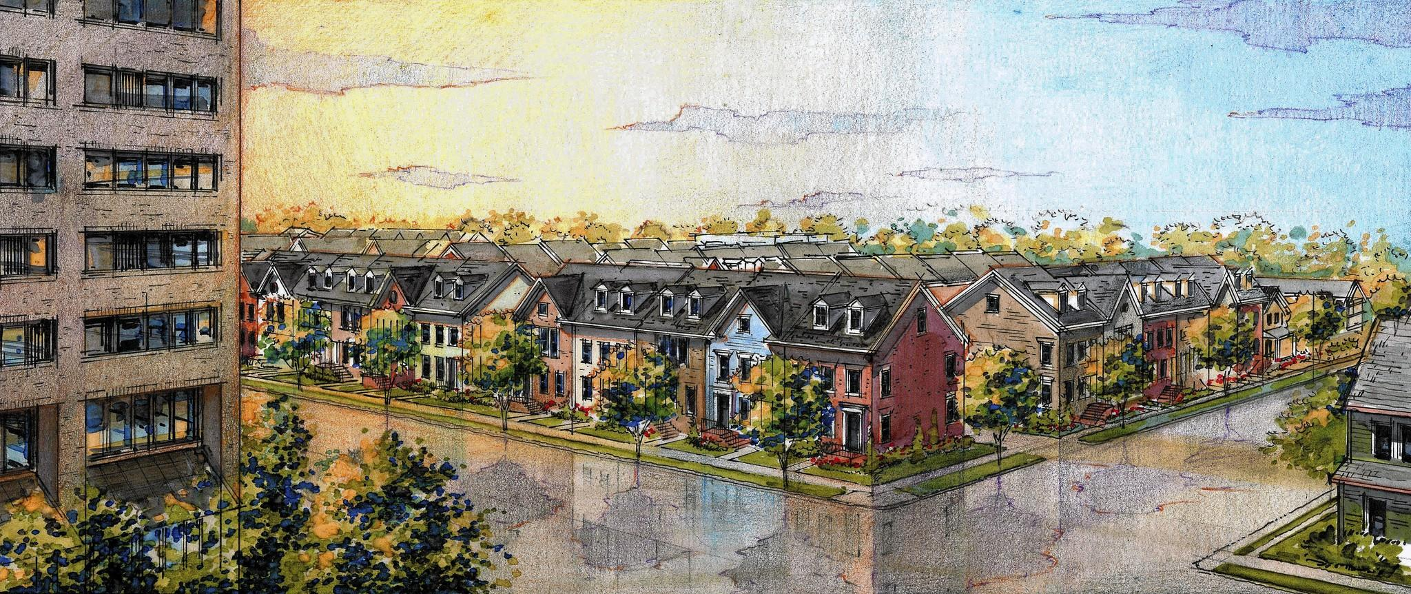 The newest downtown development, Towson Mews, will feature 35 townhouses that will be constructed on 2 acres of land that is currently occupied by the headquarters of Daft McCune Walker at 200 E. Pennsylvania Ave., which will be demolished.
