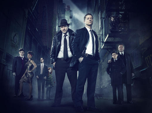 Robin Lord Taylor (from left), Jada Pinkett Smith, guest star Cory Michael Smith, guest star Clare Foley, Donal Logue, Ben McKenzie, Camren Bicondova, David Mazouz and Sean Pertwee