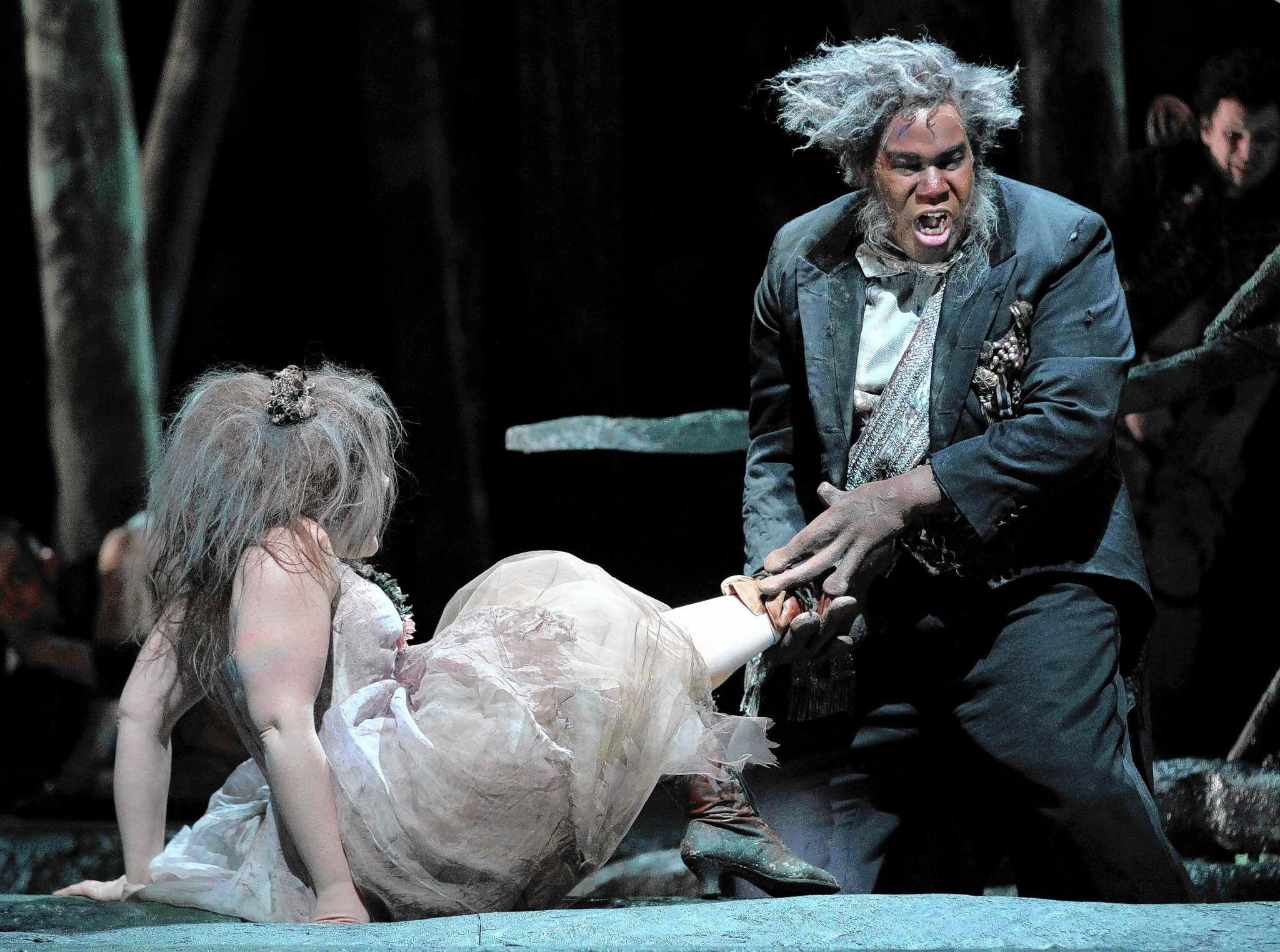 "Eric Owens (right) in Lyric Opera's ""Dvorak's Rusalka."""