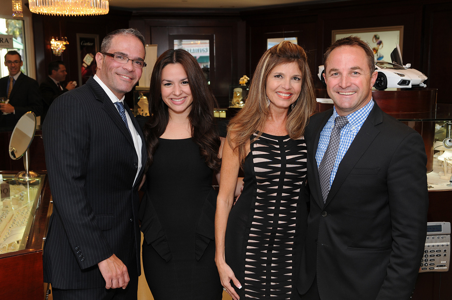Society Scene photos - Raciel Badell, Beverly Valladar and Jacquie Sullivan from Weston Jewelers with Greg Weeter from Bulgari