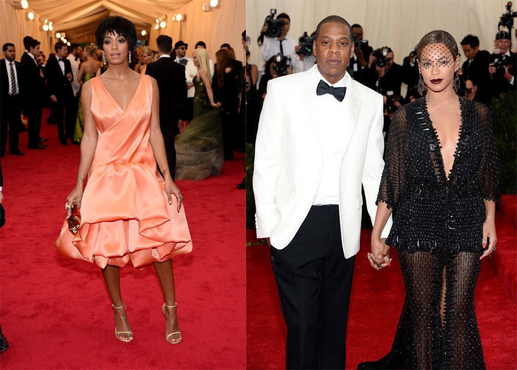Solange Knowles, Jay Z and Beyonce Knowles all attended the MET Gala in New York City.