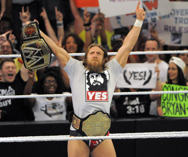 Daniel Bryan at WWE Monday Night Raw wrestling at the Baltimore Arena on April 21, 2014.
