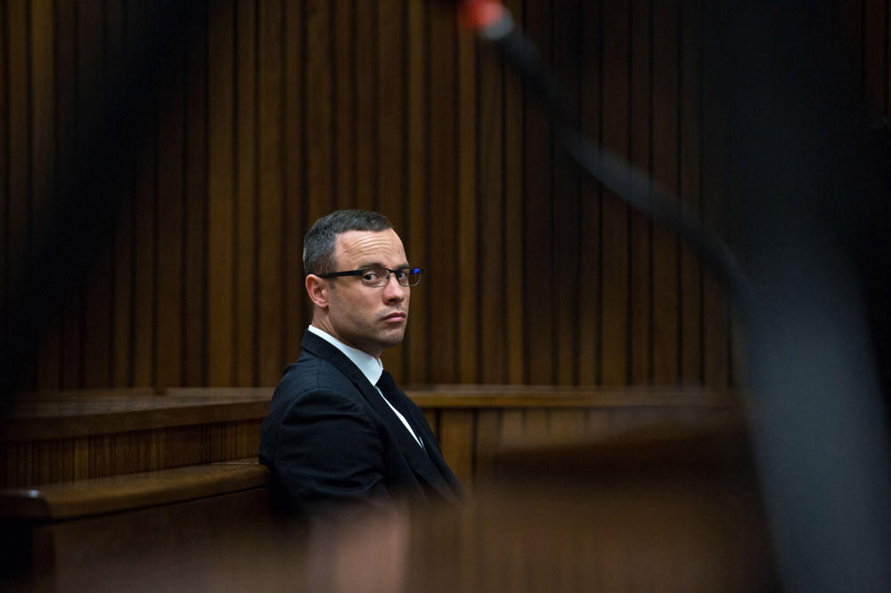 South African Paralympic athlete Oscar Pistorius looks on during his trial at the high court in Pretoria, South Africa, on May 13.