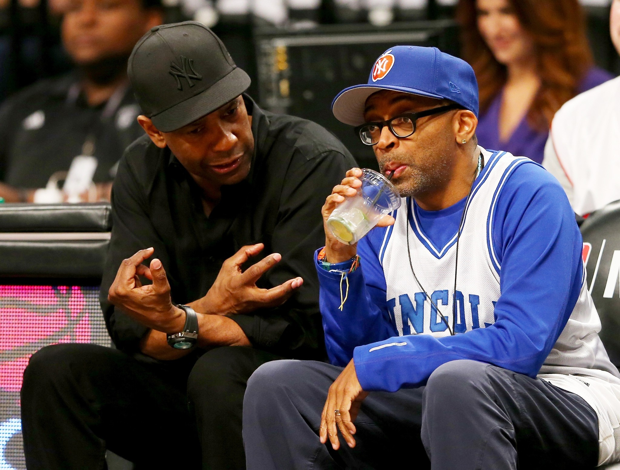 Celebs spotted at Miami Heat games - Denzel Washington and Spike Lee