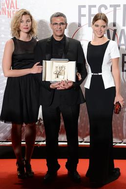 "Actress Mona Walravens, left, director Abdellatif Kechiche and actress Lea Seydoux, winner of the Palme d'Or for ""La Vie D'adele"" (""Blue Is the Warmest Color""), attend the Palme D'Or Winners dinner."