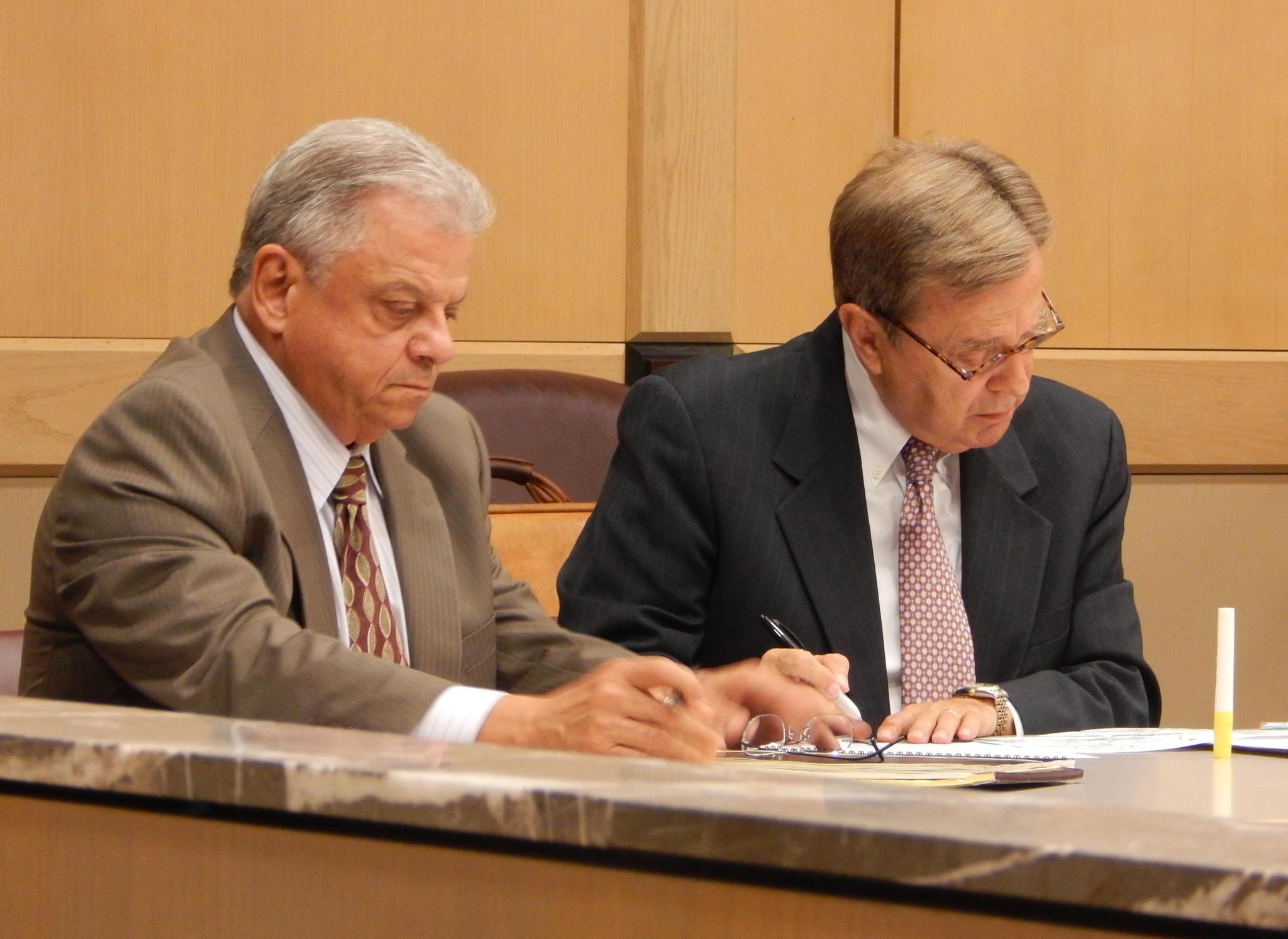 Former Deerfield Beach Mayor Al Capellini (left), with defense attorney David Bogenschutz.
