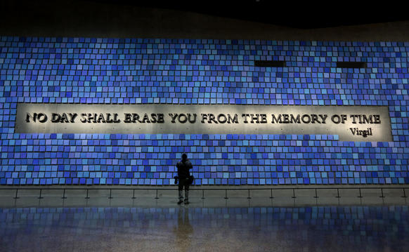 The museum hosts an art installation by Spencer Finch, composed of 2,983 individual watercolor drawings, honoring each of the people killed in the Sept. 11 attack. The various shades of blue represent the color of the sky that day.
