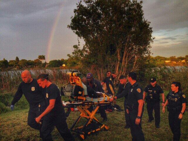 A Fort Lauderdale Fire Rescue crew saves a drowning man from a lake at 1740 NW 21 St. in Fort Lauderdale.