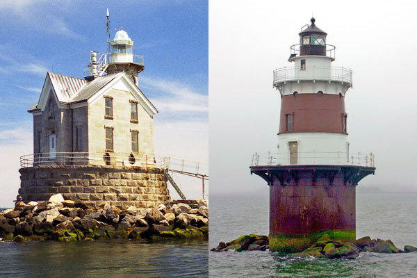 Stratford Shoal Light, left, and Pecks Ledge Light in Norwalk would be transferred for $1 to a non-profit, town or other public entity that submits an acceptable plan for preservation to the federal government.
