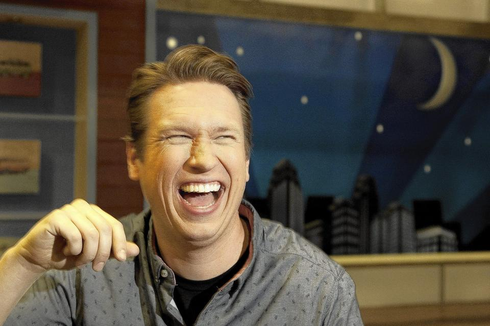 "Pete Holmes is photographed on the set of ""The Pete Holmes Show"" at Warner Brothers Studios on in Burbank, California."