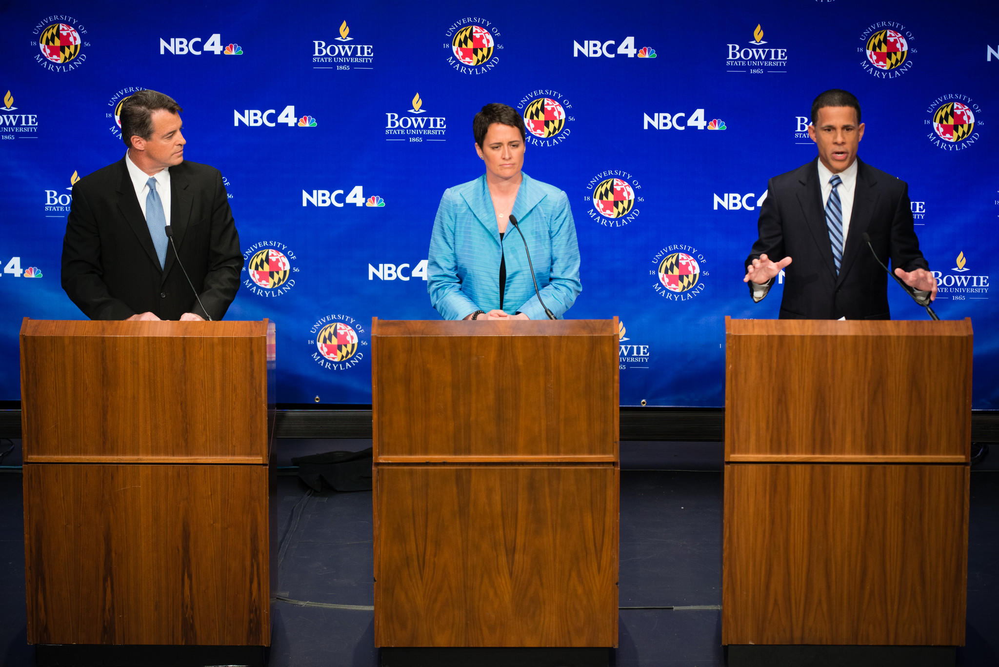 COLLEGE PARK, MD - MAY 7: From left to right are the candidates, Attorney General Doug Gansler, Delegate Heather Mizeur, and Lieutenant Governor Anthony Brown, during the debate. The Maryland Democratic Primary gubernatorial debate was held on Wednesday May 7, 2014 at the University of Maryland, College Park.