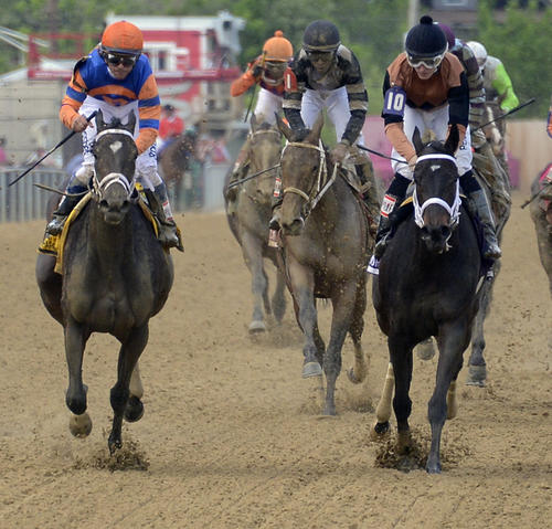 Stopchargingmaria (left,) ridden by jockey Javier Castellano, edges Vero Amore, ridden by Frank Pennington, in the 90th running of the Black-Eyed Susan Stakes at Pimlico race course.