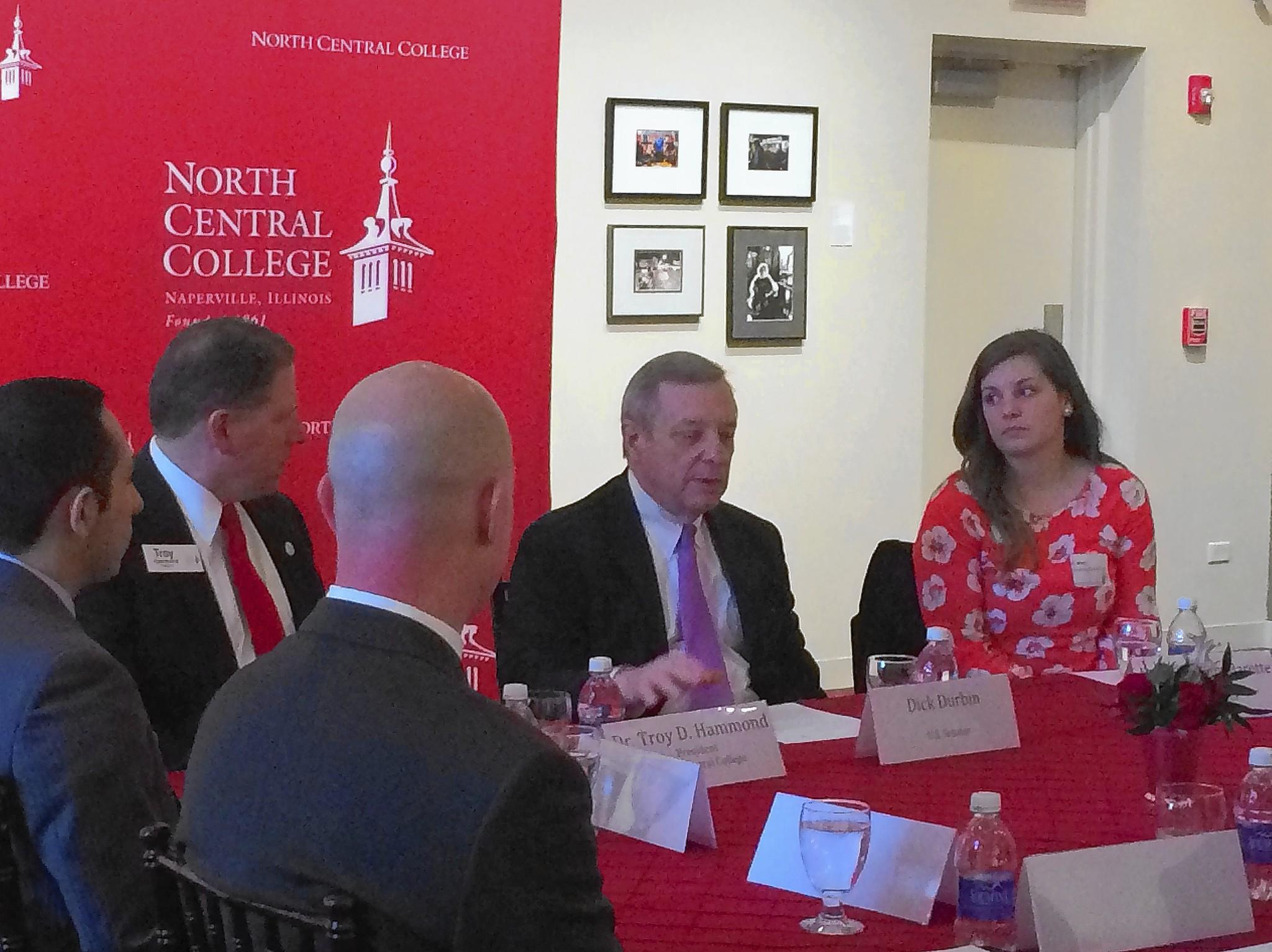 U.S. Sen. Dick Durbin, center, discusses legislation to help lower student loan debt during a visit May 15 to North Central College in Naperville.