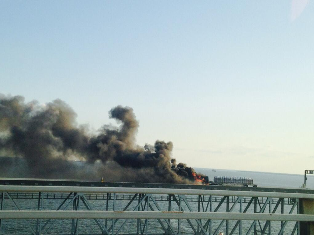 A tractor trailer caught fire on the eastbound span of the Bay Bridge Sunday evening, closing down the two lanes of traffic bound for the Eastern Shore. The westbound span was being set up to accommodate two-way traffic.