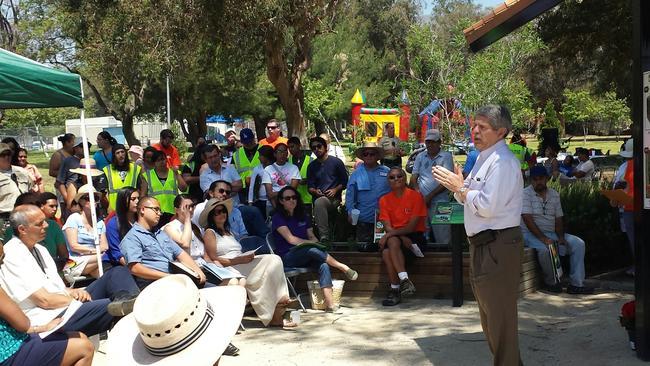 Los Angeles County Supervisor Yaroslavsky speaks at the grand opening of a community garden in Sylmar. (Ruben Aronin)