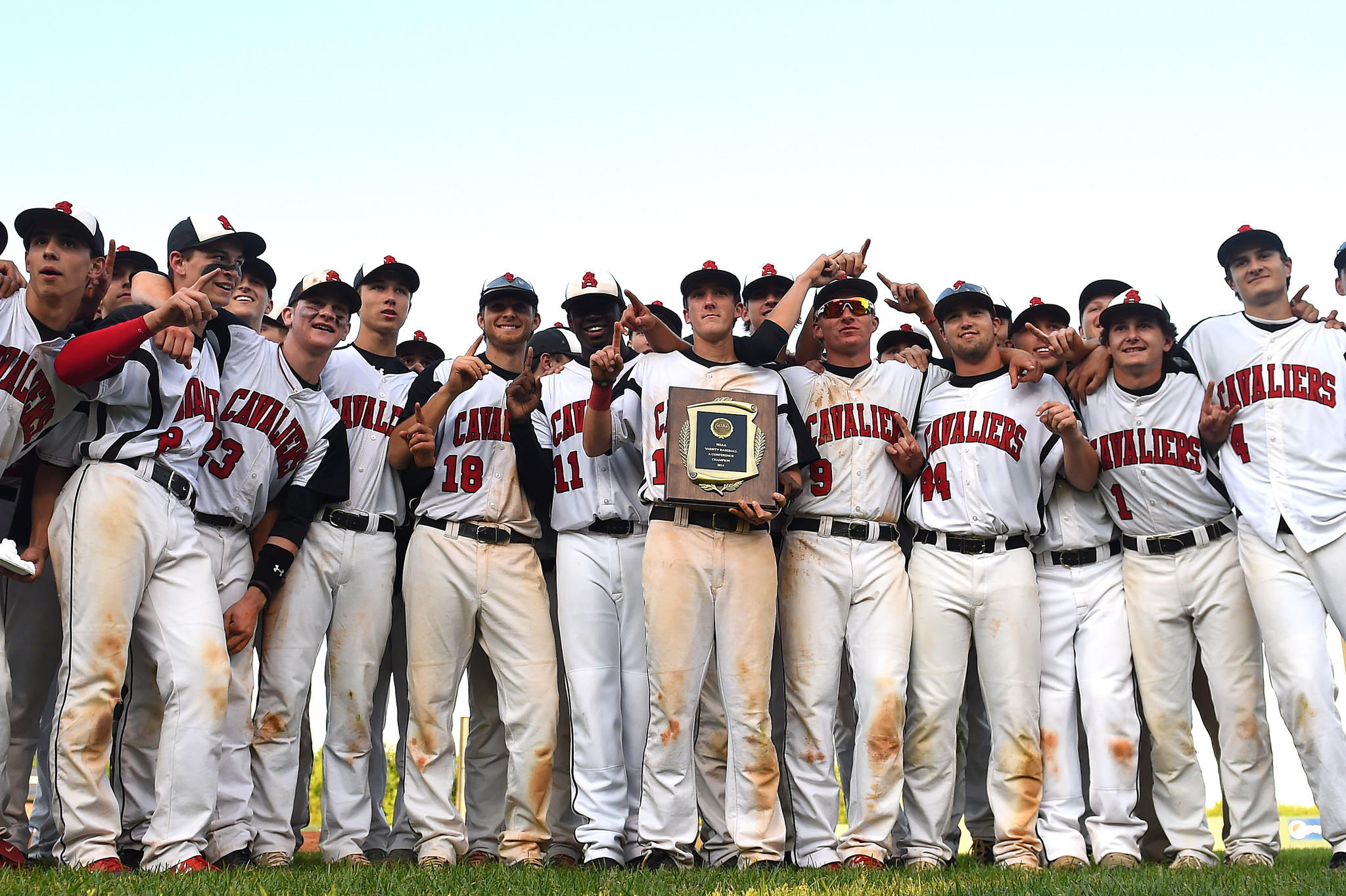 Archbishop Spalding celebrates after defeating Calvert Hall, 5-2, in the Maryland Interscholastic Athletic Association A Conference championship at Ripken Stadium.