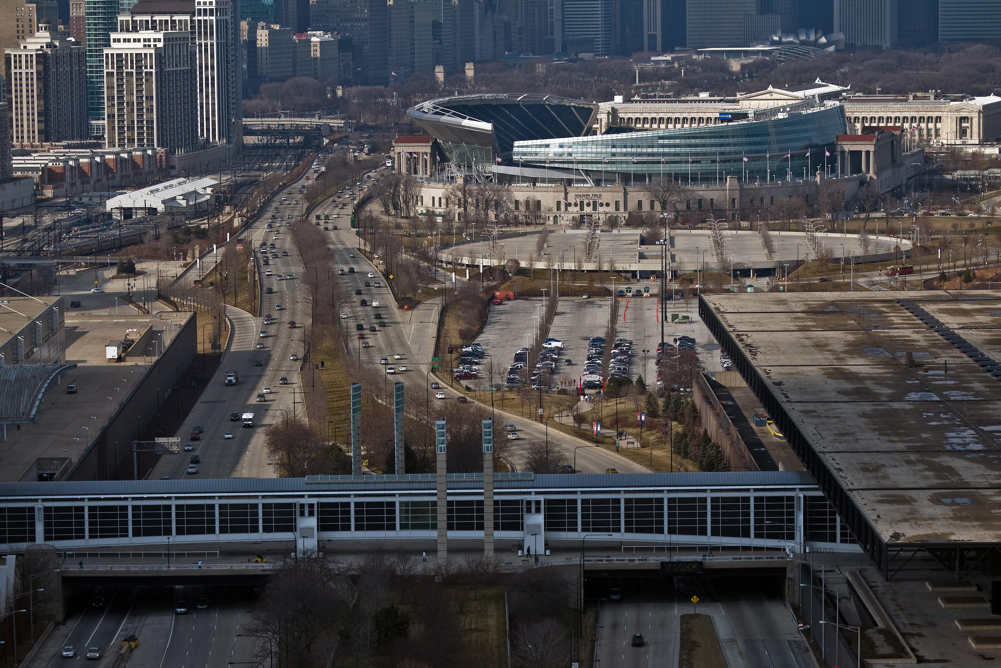 The parking lots between Soldier Field and McCormick Place are the location proposed for a Lucas Cultural Museum.