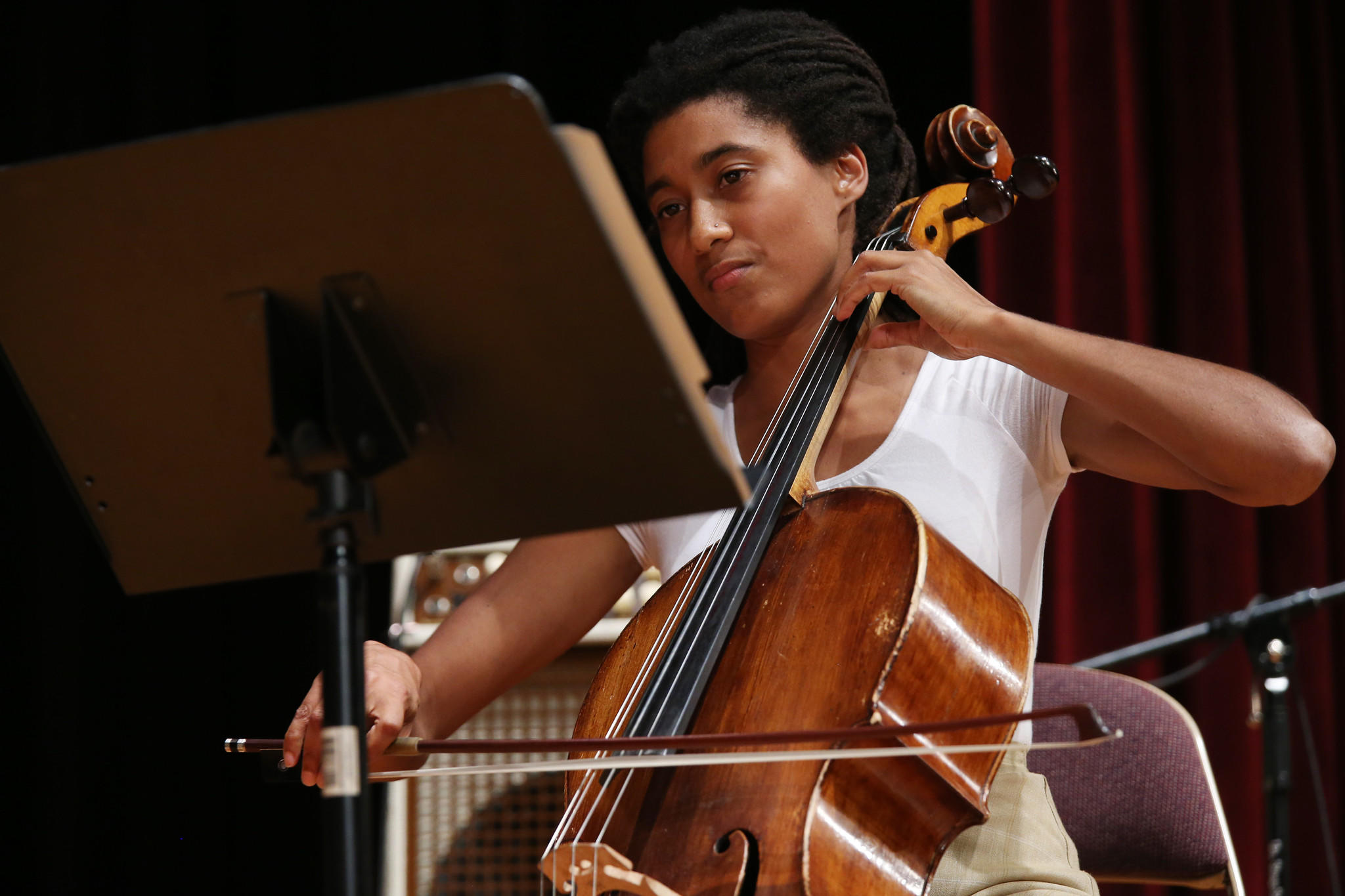 Cellist Tomeka Reid performs with the Tomeka Reid Quartet during the 2013 Hyde Park Jazz Festival.