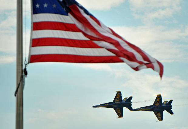 The Blue Angels practice over the U.S. Naval Academy in preparation for Wednesday's air show during Naval Academy Commencement Week.