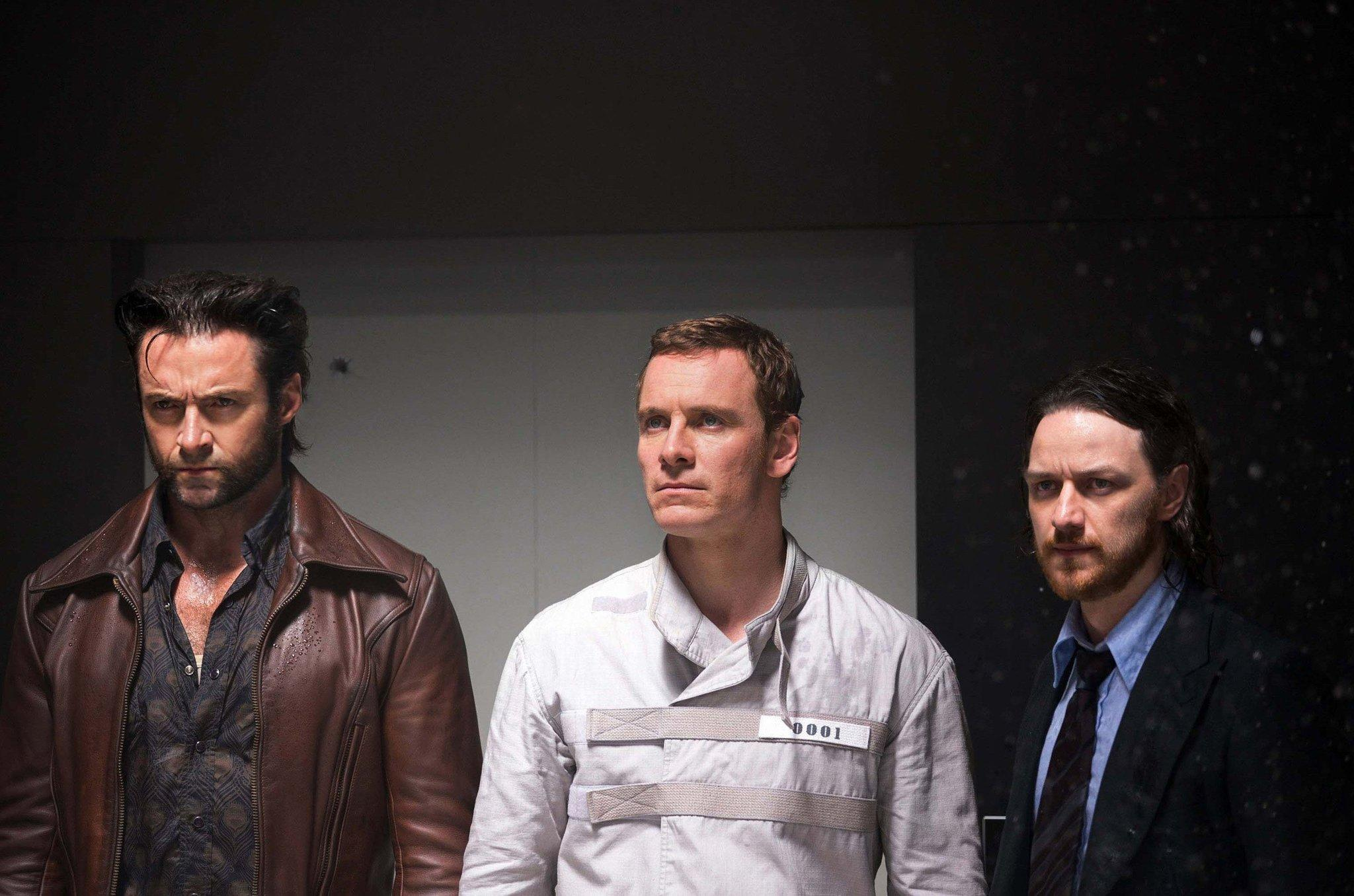 "(L to R)Hugh Jackman, Michael Fassbender and James McAvoy star in ""X-Men: Days of Future Past."""
