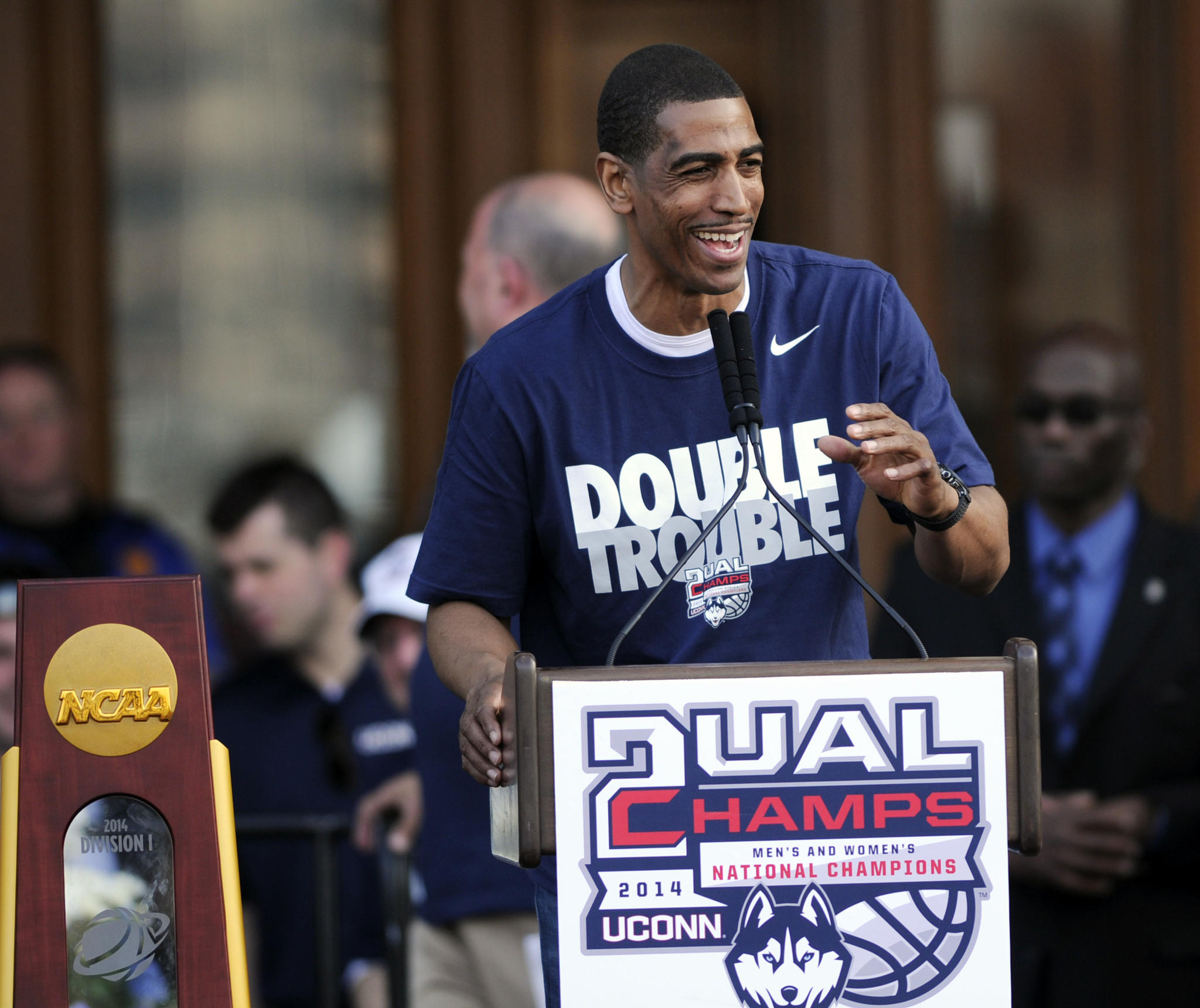 UConn men's basketball coach Kevin Ollie saluted the thousands gathered for a rally at the State Capitol in April.