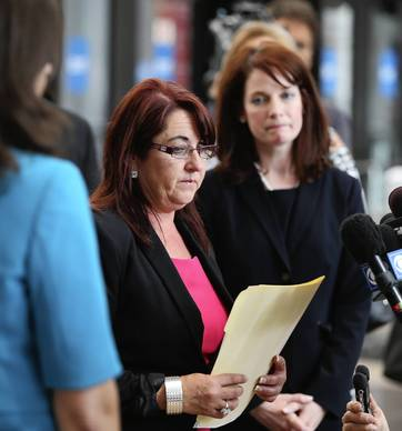 Beating victim Natasha McShane's mother, Shelia McShane addresses the media after Heriberto Viramontes was sentenced to 90 years in prison at the Leighton Criminal Court Building. The baseball bat attacks occurred in the Bucktown neighborhood